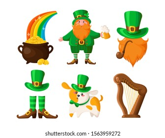 Saint Patricks Day cartoon leprechaun, pot of gold coins, cute dog or puppy in green hat, smoking pipe, hat with beard and pipe, harp, boots, vector set isolated on white