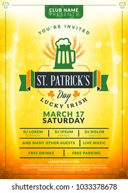 Saint Patricks Day celebration. Typography poster or party flyer template. Vintage beer label on the golden background with light effects