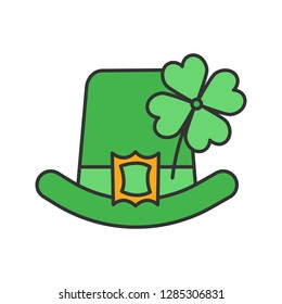 Saint Patrick's Day color icon. March 17th. Leprechaun hat with four leaf clover. Isolated vector illustration