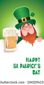 Saint Patrick's Day concept.Cartoon of Leprechaun toasted with beer mug next to textual signboard.Vector illustration for holiday greeting.