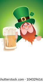 Saint Patrick's Day concept.Cartoon of Leprechaun toasted with beer mug next to blank white signboard.Empty place for message.Vector illustration for holiday greeting.