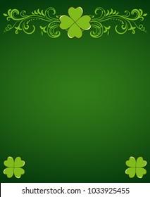 Saint Patrick's Day dark green vector border with clover shamrock leaves. Irish festival celebration greeting card design background.