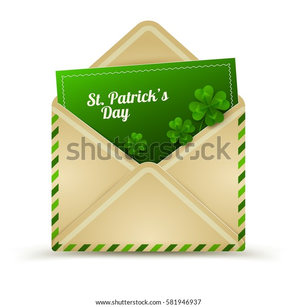 Saint Patrick's Day Envelope with Green Clovers and Letter Invitation Isolated on White Background. Vector Illustration. Realistic Craft Paper Mail. Luck Inside