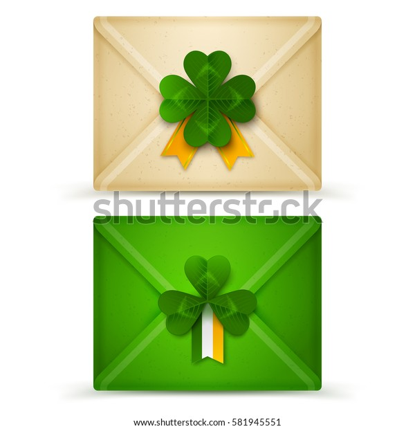 Saint Patrick's Day Envelopes with Green Clovers Seal and Irish Flag Isolated on White Background. Vector Illustration. Realistic Mail Envelope of Craft Paper. Luck Inside