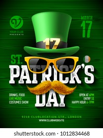 Saint Patrick's Day, Feast of Saint Patrick party poster design, 17 March celebration, invitation with vintage lettering, leprechaun hat, orange sunglasses and mustache, vector illustration