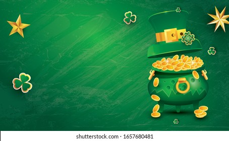 Saint Patricks Day Festive Banner with Pot Filled Golden Coins, Green Top Hat and Shamrock. Vector Illustration. Flyer with Copy Space.