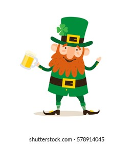 Saint Patrick's Day. Funny Leprechaun with a pint beer on a light background. Vector illustration.