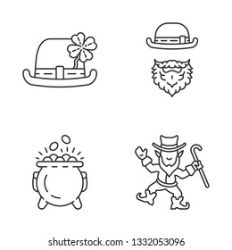 Saint Patrick's Day glyph icons set linear icons set. Thin line contour symbols. Leprechauns, bowler hat with four leaf clover, pot of gold. Isolated vector outline illustrations. Editable stroke