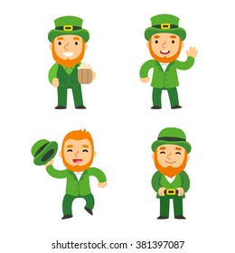Saint Patricks Day green leprechauns set. Cute cartoon leprechauns in different poses. Isolated vector illustration.
