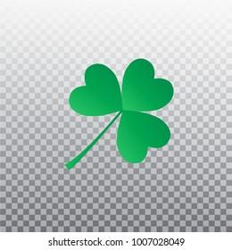 Saint Patrick's Day. Green three leaf clover. Shamrock symbol isolated on transparent background