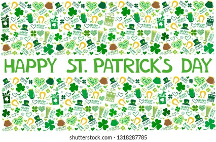 Saint Patrick's day greeting card. St. Patrick's day background with leaf clover, pint beer, leaf clover,  pub decoration, leprechaun hat, pot of gold coins and text. Vector illustration