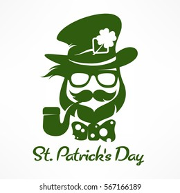 Saint Patricks Day hipster leprechaun with pipe, beard, hat and clover. Irish modern leprechaun face in green. Text. Vector illustration