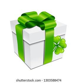 Saint Patricks Day illustration. Gift box with clover. Irish festive icon.