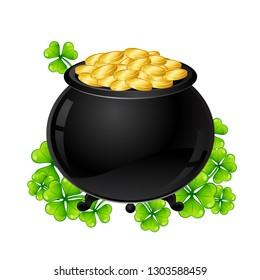 Saint Patricks Day illustration. Pot and gold with clover. Irish festive national items.