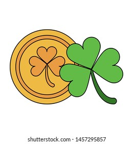 saint patricks day irish tradition golden coin with clover cartoon vector illustration graphic design