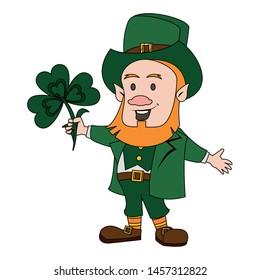 Saint Patrick's day irish tradition green leprechaun with clover cartoon. vector illustration.