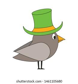 saint patricks day irish tradition bird wearing leprechaun hat cartoon vector illustration graphic design