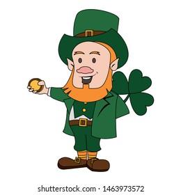 saint patricks day irish tradition green leprechaun with clover and coin cartoon vector illustration graphic design