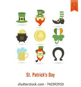 Saint Patricks Day Isolated Icon Set. Vector. Clean Work Minimum Points