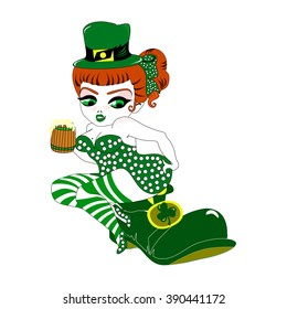 Saint Patrick's Day, leprechaun girl with goblet on shoes