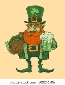 Saint Patrick's Day leprechaun with hat, beard, smoking pipe and pin of beer. engraved style. vector illustration