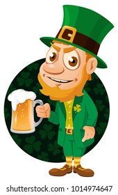 Saint Patrick's Day. Leprechaun with a pint of beer. Cartoon styled vector illustration. Elements is grouped. No transparent objects.