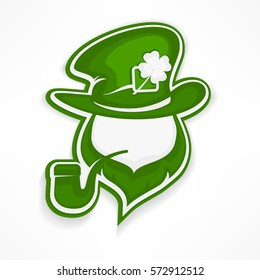 Saint Patrick's Day leprechaun with pipe, beard, hat and clover. Irish modern leprechaun face in green. Vector lucky illustration