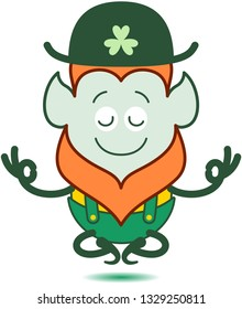 Saint Patrick's Day Leprechaun with red beard, pointy ears and folkloric hat, shorts and suspenders half-smiling, doing a Gyan mudra sign with both hands and floating while keeping in deep meditation