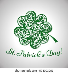 Saint Patricks Day lettering. Abstract background with clover. Vector illustration