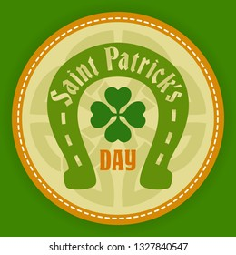 Saint Patricks day logo round labels icon . Template for beer party invitation in bar or pub