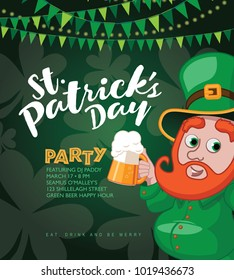 Saint Patricks Day party background with cute cartoon leprechaun holding two beers. Bunting, shamrocks and copy space. EPS10 vector illustration.