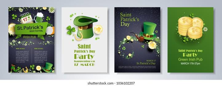 Saint Patrick's Day party flyer, brochure, holiday invitation, corporate celebration. leprechaun hat, shamrock, pot with gold coins, horseshoe, green ale on black background. Vector illustration.