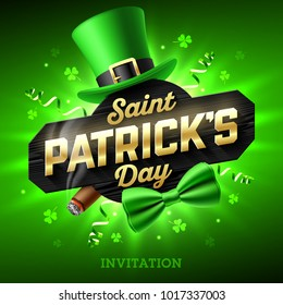 Saint Patrick's Day party invitation, Feast of Saint Patrick, 17 March celebration. Leprechaun hat, gold lettering, party streamers, green bow tie and smouldering cigar on bright shining green back..
