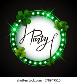 Saint Patrick's Day party round banner, vector illustration