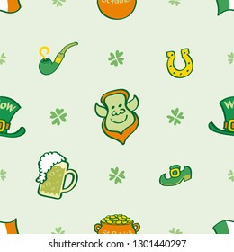Saint Patrick's Day pattern showing an Irish Leprechaun in the middle. Ireland's flag, four-leaf clovers, pot of gold, mug of beer, horseshoe, pipe, shoe and hat complete the design