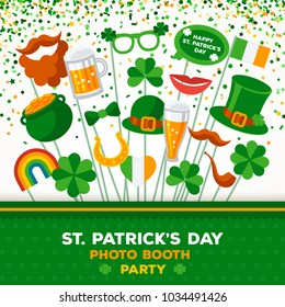 Saint Patrick's day Photo Booth Party Invitation Concept. Border with Carnival Masks and Green Falling Confetti on White Background. Vector illustration.