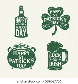 Saint Patricks Day. Retro Style. Set Emblems: leaf clover, pint beer, leaf clover, bottle of beer. Typography. Vector illustration.