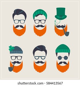 Saint Patrick's Day set of characters leprechaun with green hat, red beard, smoking pipe, and glasses