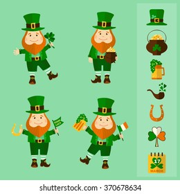 Saint Patrick's Day set. Four leprechauns and traditional elements: hat, pot of gold, smoke pipe, horseshoe, clover, beer and calendar. Vector illustration