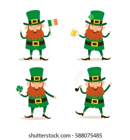 Saint Patricks Day. Set of four funny Leprechauns in different poses.