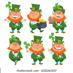 Saint Patrick's Day. Set of Leprechauns. Isolated. Cartoon vector illustration