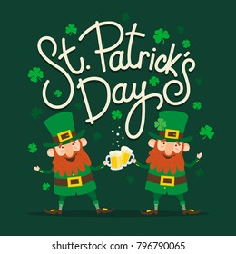 Saint Patrick's Day. Set of two funny Leprechauns with inscription: «Saint Patrick's Day» on green background. Vector illustration.