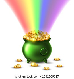 Saint Patricks day. Treasure of leprechaun. Pot full of golden coins and rainbow. Vector Illustration