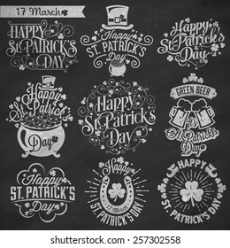 Saint Patrick's Day Typographic Design Badges Set On Chalkboard