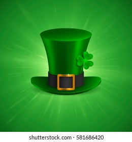 Saint Patrick's hat with clover. Isolated on green background. Vector Illustration, eps 10.