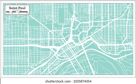 Saint Paul Minnesota USA City Map in Retro Style. Outline Map. Vector Illustration.