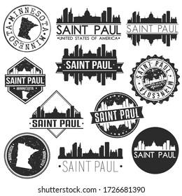 Saint Paul Minnesota USA Skyline Vector Art Stamps. Silhouette Emblematic Buildings.