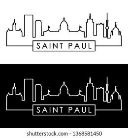 Saint Paul skyline. Linear style. Editable vector file.
