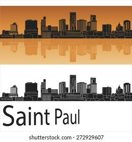 Saint Paul skyline in orange background in editable vector file