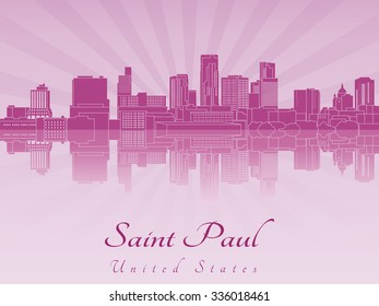 Saint Paul skyline in purple radiant orchid in editable vector file